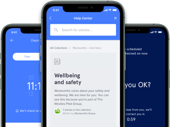Corporate solutions app screens